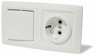 ЭТЮД Блок Выключатель одноклавишный/Розетка наружная с заземлением со шторками IP44 серый BPA16-241C Schneider Electric, цена, купить