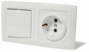 Блок Выключателя одноклавишного +розетка с заземлением со шторками открытой установки IP44 BPA16-241C ЭТЮД Schneider Electric купить по оптовой цене