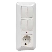 Прима С/У БЛОК: розетка + выключатель двухклавишный с подсветкой + выключатель двухклавишный белый BK2VR-007B-BI Schneider Electric, цена, купить
