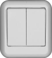 ПРИМА Выключатель двухклавишный наружный 250В 10А белый VA5U-214-B Schneider Electric, цена, купить