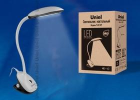 TLD-529 Black-White/4W/LED/400Lm/4500K Светильник настольный «прищепка». Механический выключатель. Чёрный с белым. TM Uniel. купить по оптовой цене