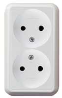 ПРИМА Розетка двойная наружная белая без заземления и шторок 16А 250В RA16-213-B Schneider Electric, цена, купить