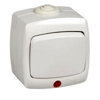 РОНДО Переключатель одноклавишный наружный с индикацией 250В 6А белый IP44 VA66-123B-BI Schneider Electric, цена, купить